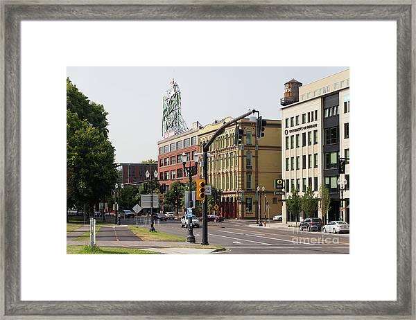 The Portland Oregon Sign Aka The White Stag Sign In Portland Oregon 5d3409 Framed Print