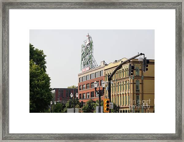 The Portland Oregon Sign Aka The White Stag Sign In Portland Oregon 5d3410 Framed Print