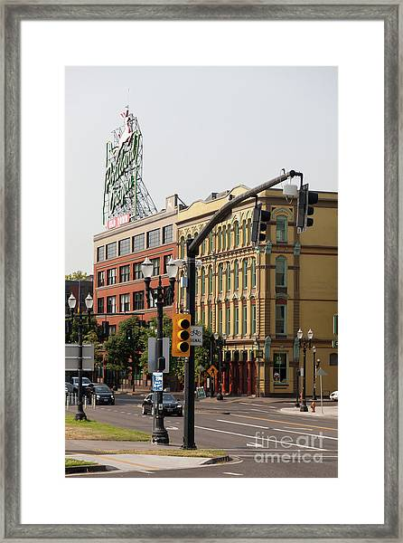 The Portland Oregon Sign Aka The White Stag Sign In Portland Oregon 5d3411 Framed Print