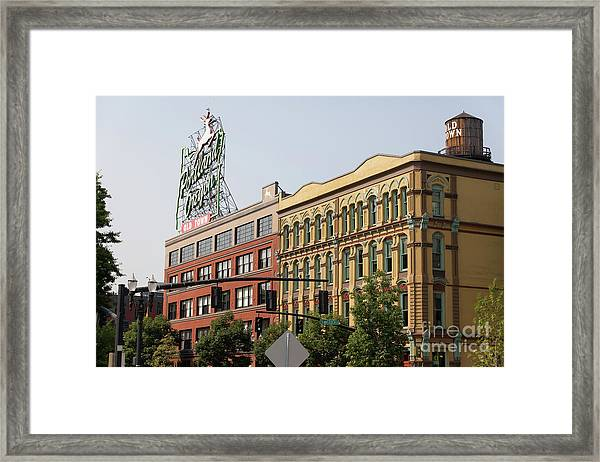 The Portland Oregon Sign Aka The White Stag Sign In Portland Oregon 5d3414 Framed Print
