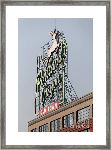 The Portland Oregon Sign Aka The White Stag Sign In Portland Oregon 5d3417 Framed Print
