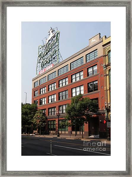 The Portland Oregon Sign Aka The White Stag Sign In Portland Oregon 5d3419 Framed Print