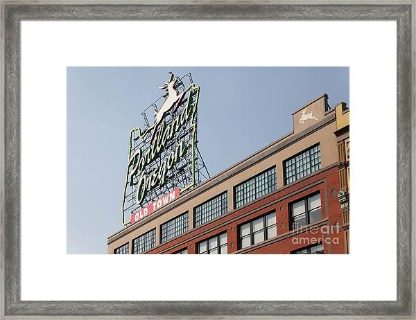 The Portland Oregon Sign Aka The White Stag Sign In Portland Oregon 5d3420 Framed Print