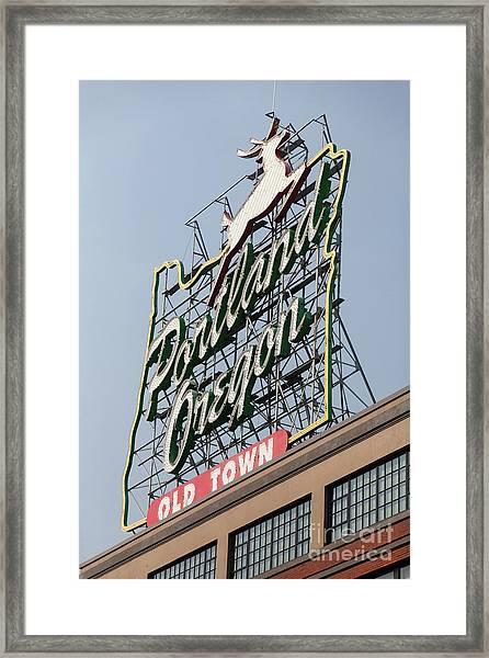 The Portland Oregon Sign Aka The White Stag Sign In Portland Oregon 5d3421 Framed Print