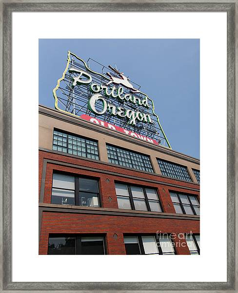 The Portland Oregon Sign Aka The White Stag Sign In Portland Oregon 5d3427 Framed Print