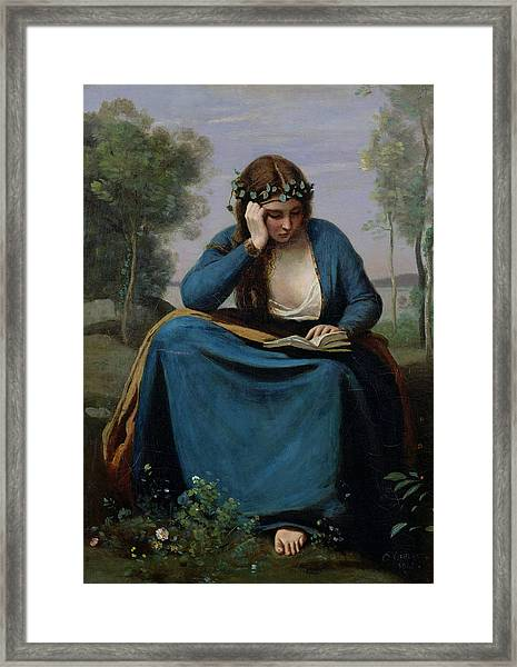 The Reader Crowned With Flowers Framed Print