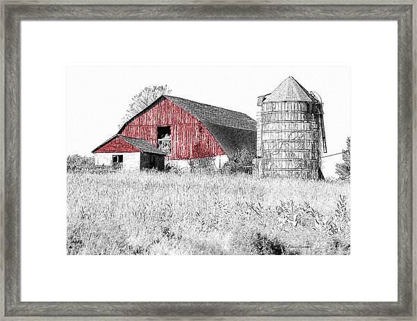 The Red Barn - Sketch 0004 Framed Print