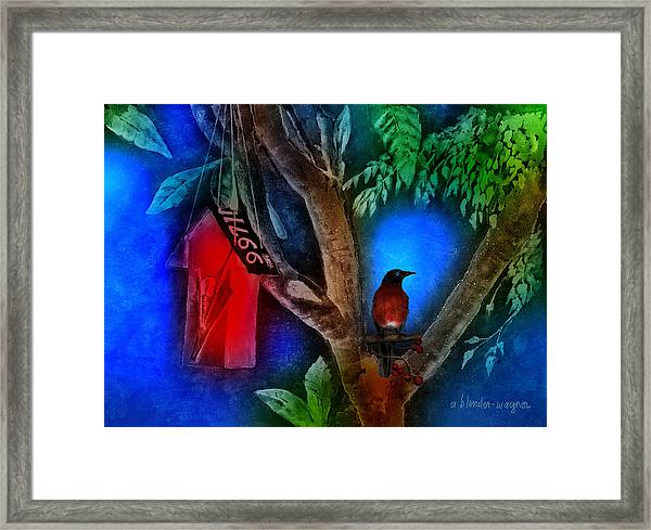 The Red Birdhouse Framed Print