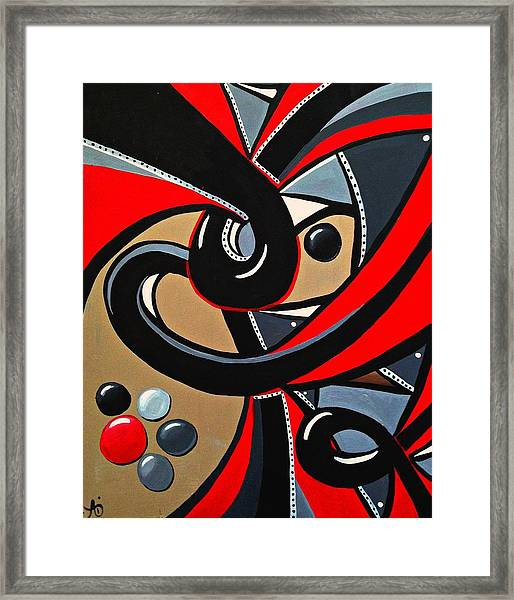 Red And Black Abstract Art Painting Framed Print
