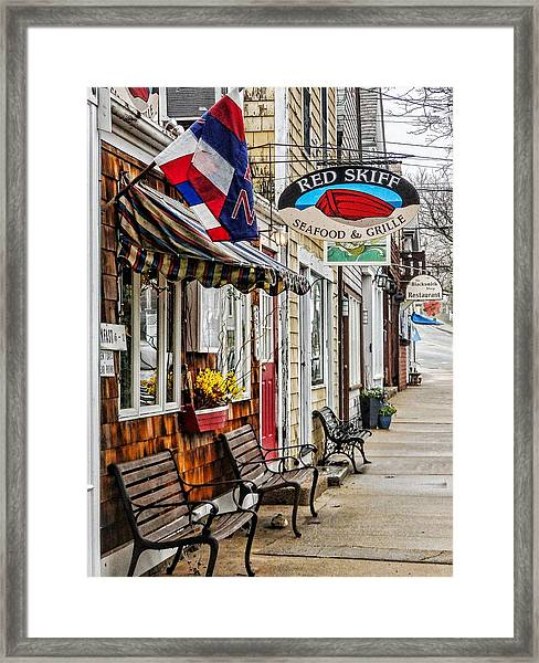 The Red Skiff In Rockport Ma Framed Print