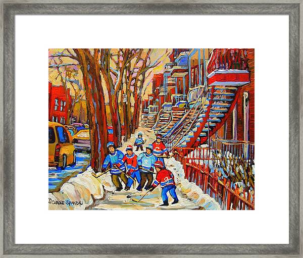 The Red Staircase Painting By Montreal Streetscene Artist Carole Spandau Framed Print
