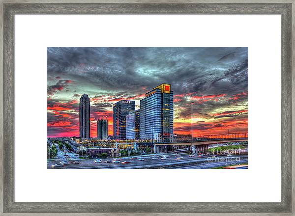 The Red Sunset Midtown Atlanta Cityscape Art Framed Print