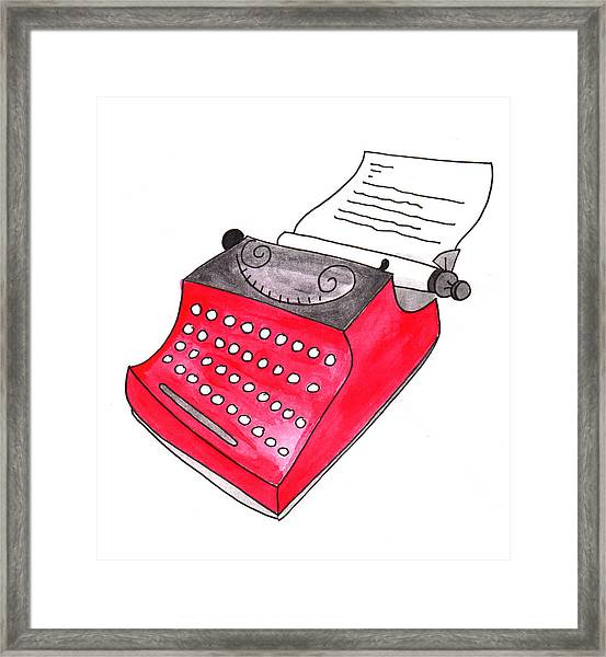 The Red Typewriter Framed Print