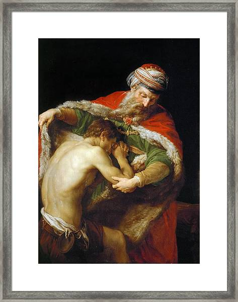 Framed Print featuring the painting The Return Of The Prodigal Son by Pompeo Batoni