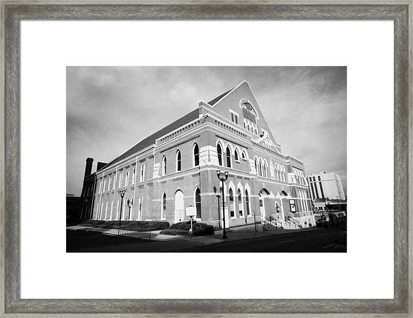 The Ryman Auditorium Former Home Of The Grand Ole Opry And Gospel Union Tabernacle Nashville Framed Print