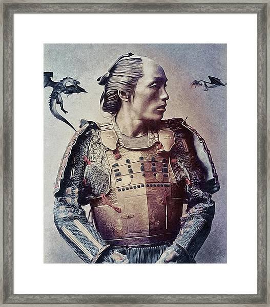 The Samurai And The Dragons Framed Print