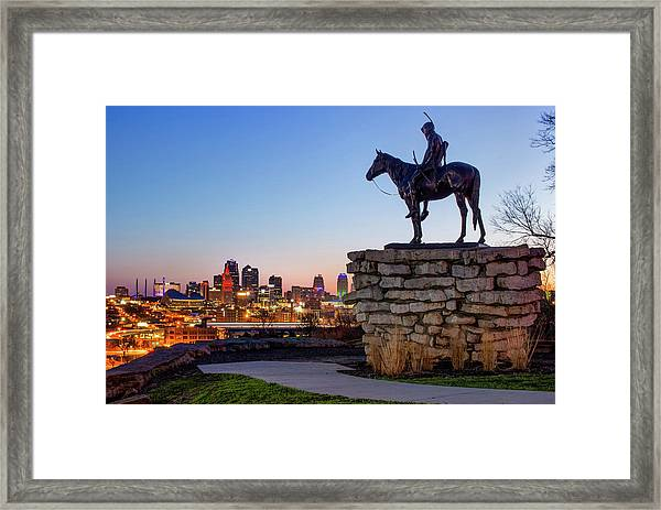 The Scout Overlooking The Kansas City Skyline Framed Print