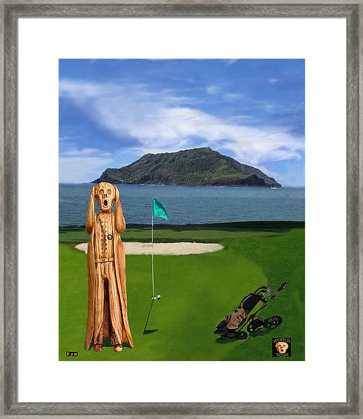 Framed Print featuring the mixed media The Scream World Tour Golf  by Eric Kempson