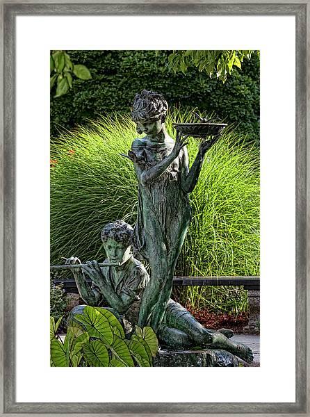 The Secret Garden Memorial Statue And Bird Bath Framed Print