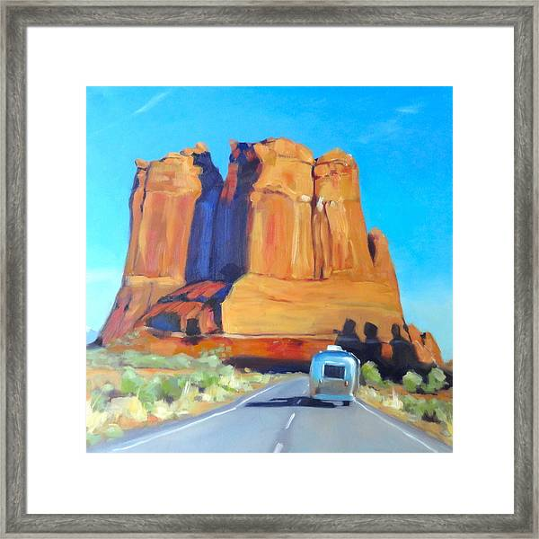 The Shadow Of The Three Gossips Arches Utah Framed Print