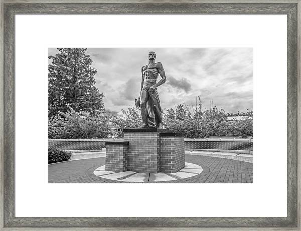 The Spartan Statue Black And White  Framed Print