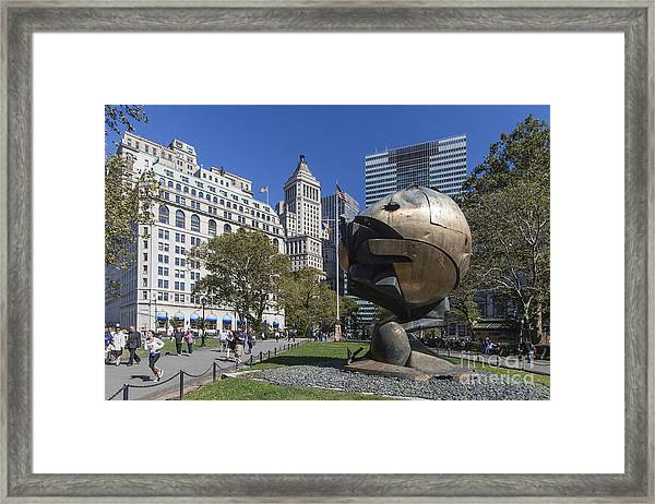 Framed Print featuring the photograph The Sphere Batterie Park Nyc by Juergen Held