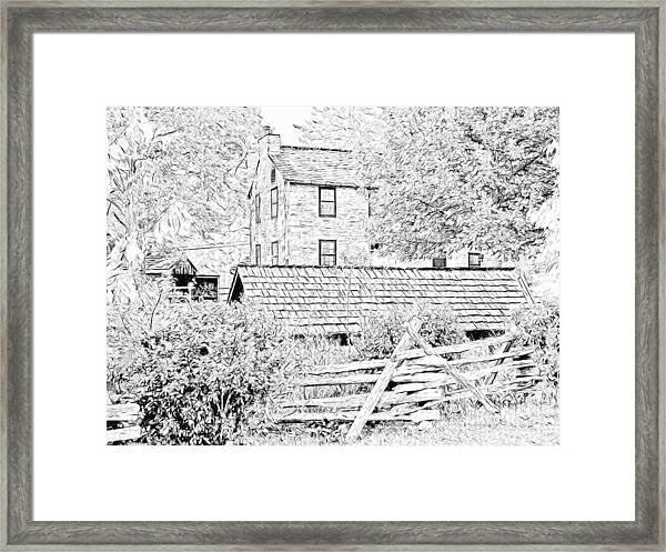 The Stone House At The Oliver Miller Homestead Framed Print