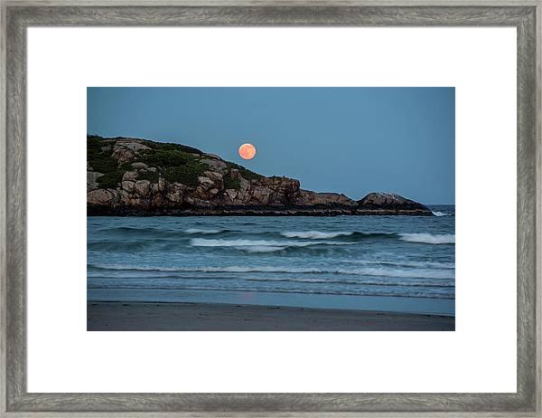 The Strawberry Moon Rising Over Good Harbor Beach Gloucester Ma Island Framed Print