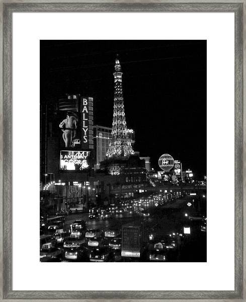 The Strip By Night B-w Framed Print