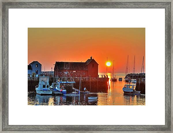 The Sun Rising By Motif Number 1 In Rockport Ma Bearskin Neck Framed Print