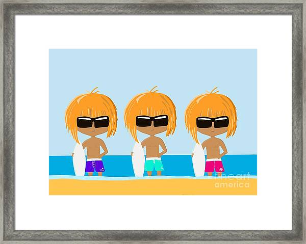The Surfing Triplets Framed Print