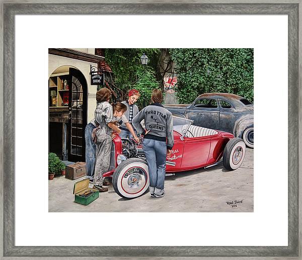 The Throttle Queens Framed Print by Ruben Duran