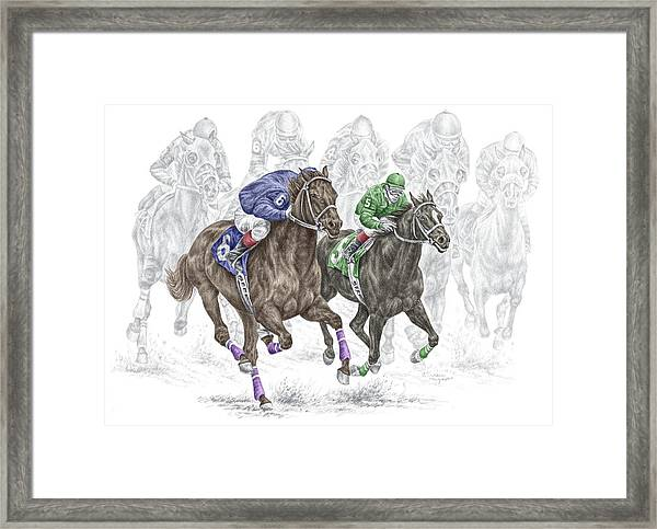 The Thunder Of Hooves - Horse Racing Print Color Framed Print