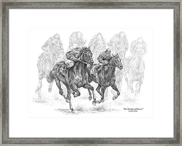 The Thunder Of Hooves - Horse Racing Print Framed Print