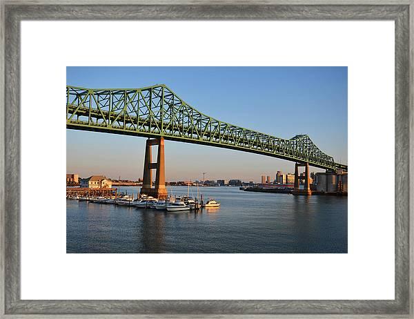 The Tobin Bridge Into The Sunset Chelsea Yacht Club Framed Print