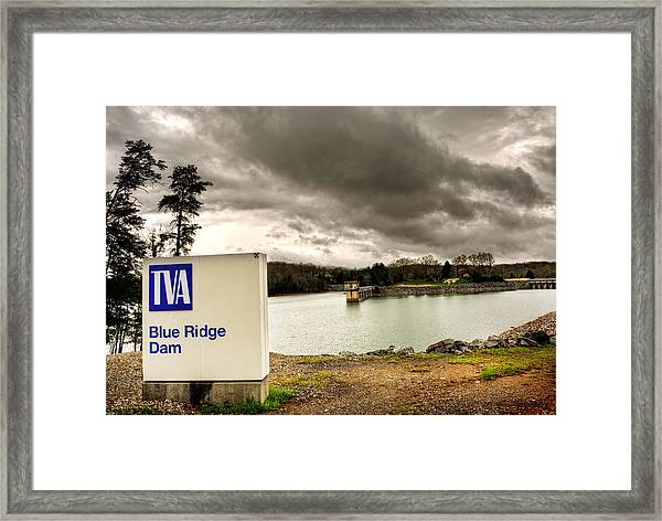 The Top Of Blue Ridge Dam Framed Print by Greg and Chrystal Mimbs