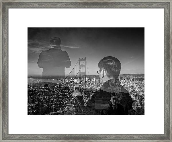The Tourists - Golden Gate Bridge Framed Print
