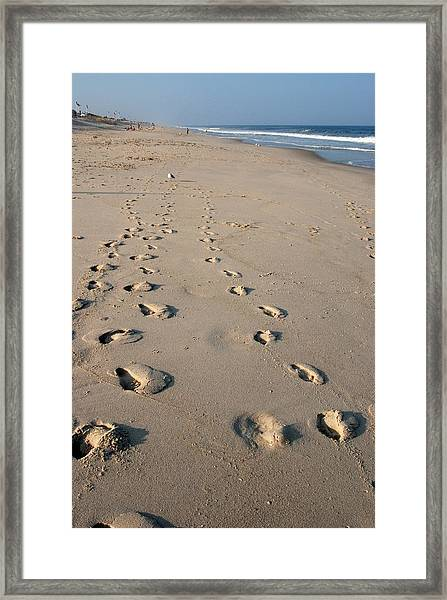 The Trails Of Footprints - Jersey Shore Framed Print