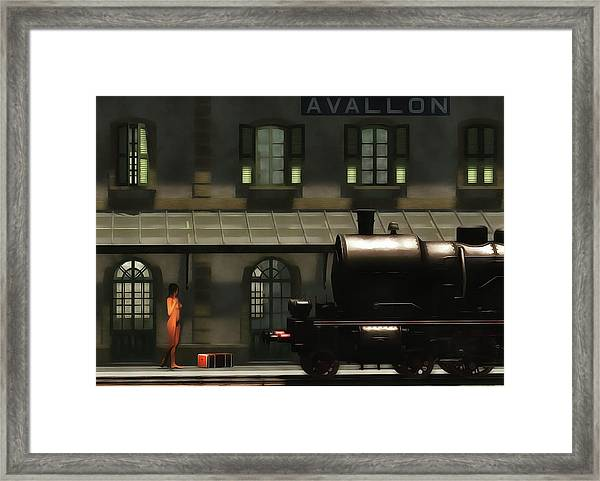 Framed Print featuring the painting The Train In The Morning by Jan Keteleer