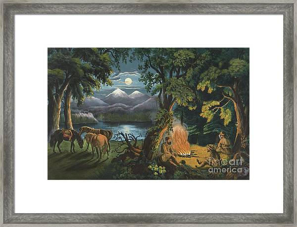 The Trappers Camp Fire Framed Print