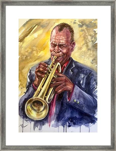 Framed Print featuring the painting The Trumpetist by Katerina Kovatcheva