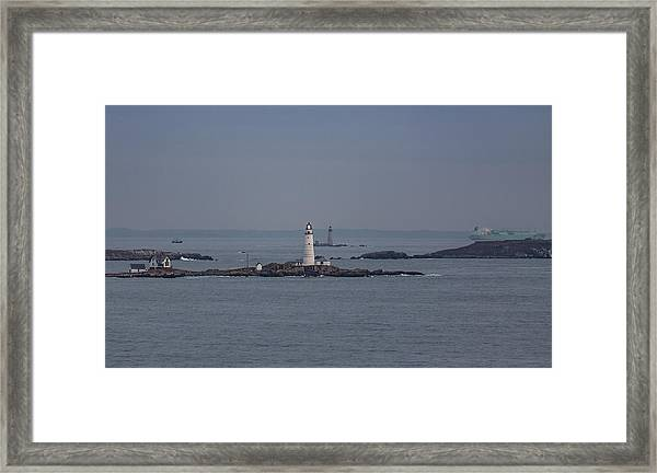 The Two Harbor Lighthouses Framed Print