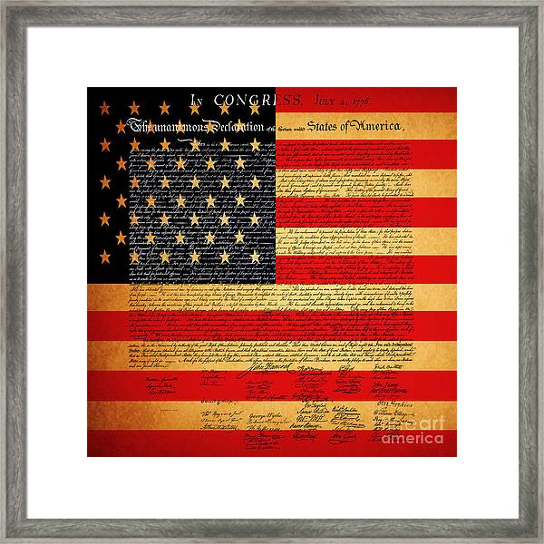 The United States Declaration Of Independence - American Flag - Square Framed Print