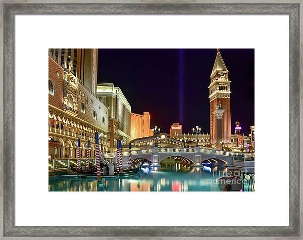The Venetian Gondolas At Night Framed Print