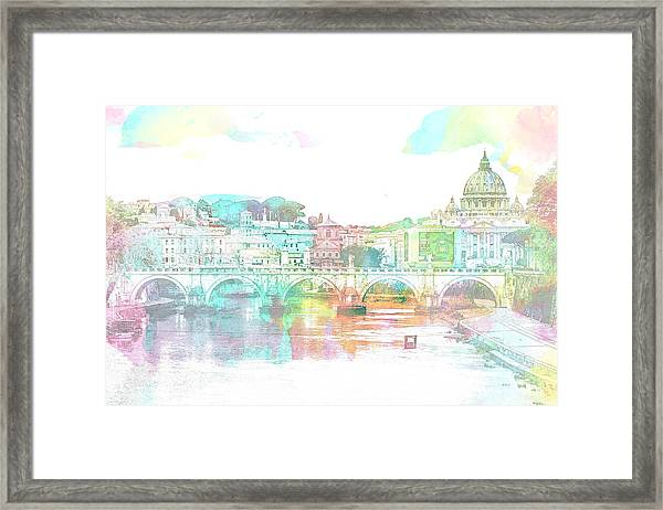 The View From Castel Sant'angelo Towards Ponte Sant'angelo, Brid Framed Print