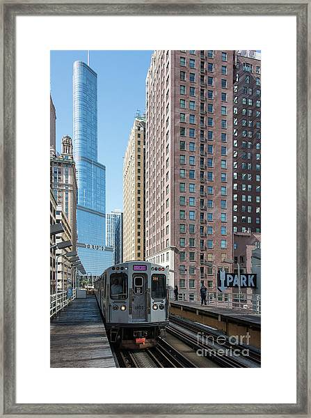The Wabash L Train At Eye Level Framed Print