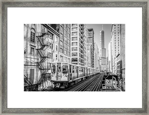 The Wabash L Train In Black And White Framed Print