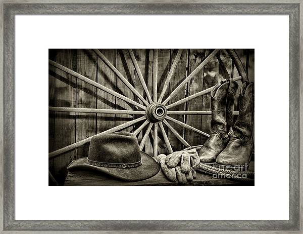 The Wagon Master In Black And White Framed Print
