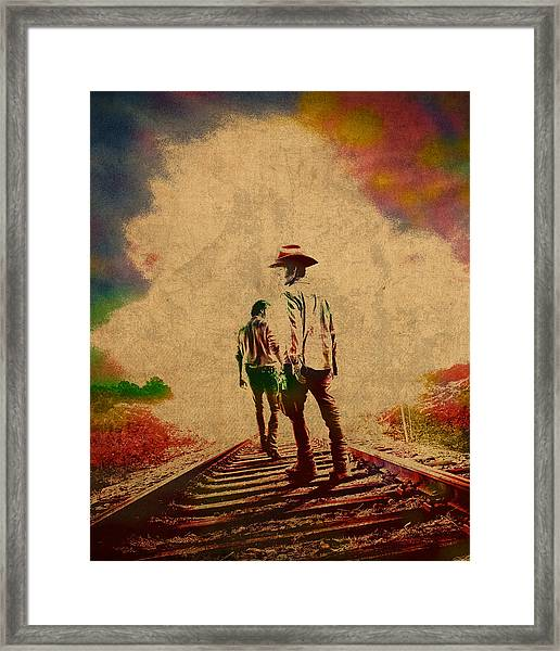 The Walking Dead Watercolor Portrait On Worn Distressed Canvas No 3 Framed Print
