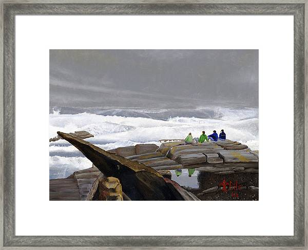 Framed Print featuring the painting The Wave Watchers by Dominic White